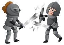 Två riddare armerar in stridighet royaltyfri illustrationer