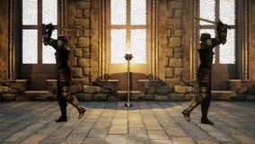 Två riddare i medeltida harnesk slåss med magiska svärd stock illustrationer