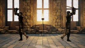 Två riddare i medeltida harnesk slåss sig med svärd vektor illustrationer