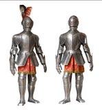 Två riddarepansardräkter som isoleras royaltyfri foto