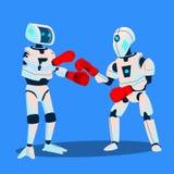 Två robotar boxas på Ring Vector isolerad knapphandillustration skjuta s-startkvinnan vektor illustrationer