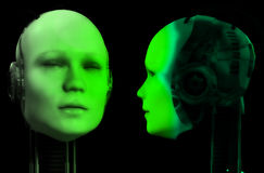 Två robothuvud 4 vektor illustrationer