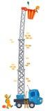 Två roliga arbetare och maskin-elevator (hissen) royaltyfri illustrationer