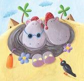 Två roliga flodhästar på ferier i Egypten stock illustrationer