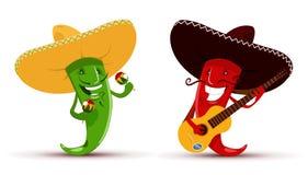 Två roliga röda och gröna chili pepprar som playin Arkivbild