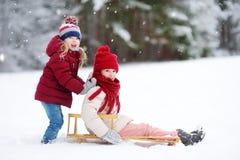 Två roliga små flickor som har gyckel med en sleight i härlig vinter, parkerar Gulliga barn som spelar i en snö Royaltyfria Foton