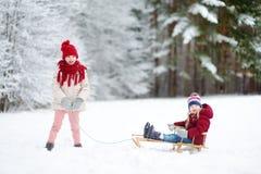 Två roliga små flickor som har gyckel med en sleight i härlig vinter, parkerar Gulliga barn som spelar i en snö Royaltyfri Bild