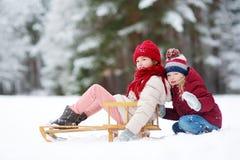 Två roliga små flickor som har gyckel med en sleight i härlig vinter, parkerar Gulliga barn som spelar i en snö Arkivbild