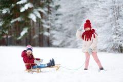 Två roliga små flickor som har gyckel med en sleight i härlig vinter, parkerar Gulliga barn som spelar i en snö Arkivbilder