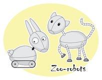 Två roliga zoo-robotar, katt och kanin Royaltyfria Bilder