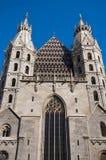 Två romerska torn av domkyrka för St Stephans i Wien, Österrike Arkivfoton