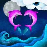 Två rosa delfiner royaltyfri illustrationer