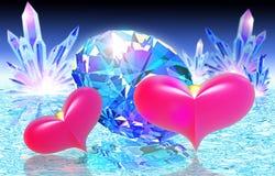 Två rosa hjärtor och diamant royaltyfri illustrationer