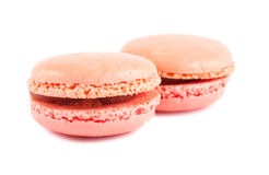 Två rosa macaroons royaltyfria foton