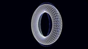 Två roterande ramar för cirklar 3D på svart bakgrund, sömlös ögla djur Härliga vita och blåa volymcirklar av stock illustrationer