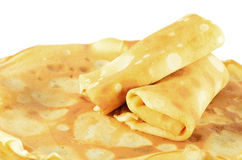 Två rullande pannkakor Fotografering för Bildbyråer
