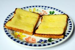 Två rundor av ost på rostat bröd. royaltyfria foton