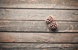Två sörjer kottar på en lantlig trägammal tabell Julgåta Arkivbild