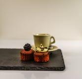 Två söta muffin, björnbär och krämig chokladbakgrund D Royaltyfri Fotografi