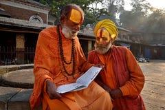 Två Sadhu Babas Arkivbild