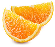 Två segment av orange frukt Royaltyfri Fotografi