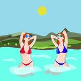 Två sexiga flickor badar i floden, på en vit bakgrund Royaltyfria Bilder