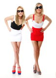 Två sexiga kvinnor som bär kortkortkjolar Royaltyfria Bilder