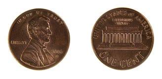 Två sidor av en USA 1 cent Royaltyfria Foton