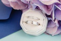Två silvervigselringar med diamanter i sammetgåvaask arkivfoto