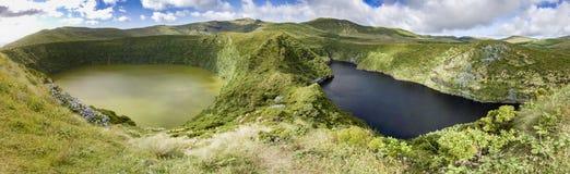 Två sjöar i Azores Arkivfoto
