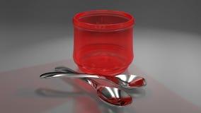 Två skedar och rött exponeringsglas royaltyfri illustrationer