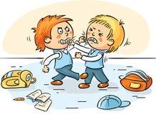 Två skolpojkar slåss stock illustrationer