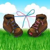 Två skor med snör åt på det gröna gräset Arkivbilder