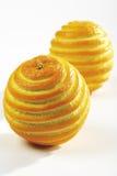 Två skrapade apelsiner Arkivfoton