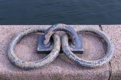 Två slitna stålcirklar för försäljning ankras till en kaj i Köpenhamn arkivfoton