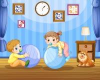 Två små barn på stora bollar vektor illustrationer