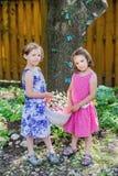 Två små flickor som rymmer en påskkorg Arkivfoton