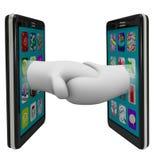 Två smart telefoner som delar data som upprör händer stock illustrationer