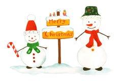 Två snögubbear gratulerar med jul Royaltyfri Fotografi
