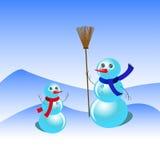 Två snögubbear på snöbakgrund stock illustrationer