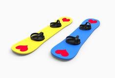 Två snowboards med hjärtor Royaltyfria Bilder