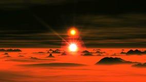 Två solar över den främmande planeten stock video