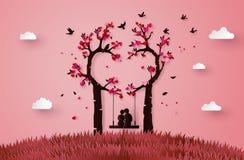 Två som tjusas under ett förälskelseträd stock illustrationer