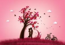 Två som tjusas under ett förälskelseträd royaltyfri illustrationer