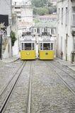 Två spårvagnar Arkivfoto