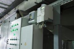 Två stängda kabinetter för ventilationssystemkontroll i den industriella ventilationen hyr rum Arkivbilder