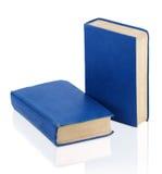 Två stängde gammala blåa böcker Arkivbild