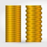 Två stänger av staplade guld- mynt royaltyfri illustrationer