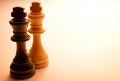 Två stående träkonung Chess Pieces Royaltyfri Bild