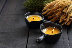Två stearinljus för massage Royaltyfri Fotografi
